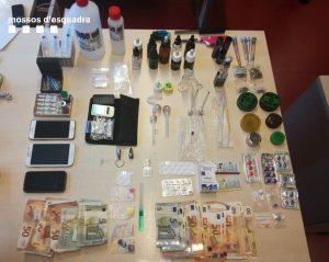drogues localitzades pels Mossos d'Esquadra durant l'escorcoll. 20 de maig