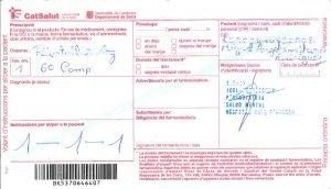 Una de les receptes falsifcades que elaboraven els dos detinguts de Mataró, en una imatge cedida aquest 30 de juny de 2018.