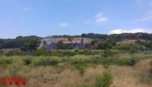 Imatge general del petit incendi forestal a Mataró