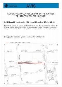 La propera setmana, a Vilassar de Mar, quedarà tallat l'accés al carrer Cristòfor Colom