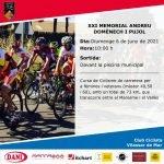 Diumenge 6 de juny, tindrà lloc el XXI Memorial Andreu Domènech i Pujol, cursa ciclista organitzada pel Club Ciclista Vilassar de Mar