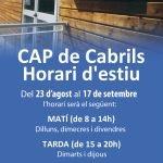 Nou horari d'estiu del Consultori Local de Cabrils